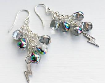 Metallic Silver Rainbow Glass Drop Cluster Earrings, Silver Lightening Bolt Earrings on Sterling Silver Ear Wires, Summer Raindrop Earrings