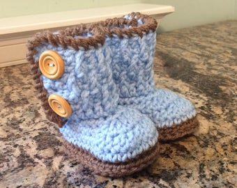 Baby Blue Two Button Baby Booties