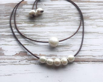 Pearl and Leather Necklace ~ Layered Freshwater Pearl Choker ~ White Pearls on Brown Leather Cord