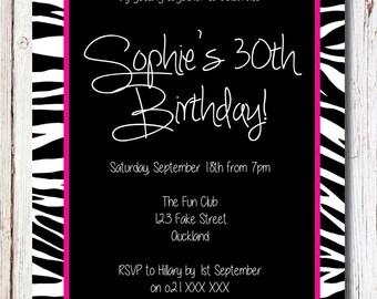 Pink Zebra Birthday Invitation - YOU PRINT custom birthday party invite