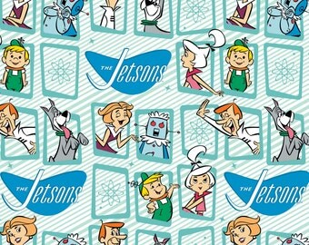 The Jetsons Fabric by the Yard / Retro Frames in Blue / Camelot Fabrics, Hanna-Barbera 24080101 #2 /The Jetsons Yardage /  Fat Quarters