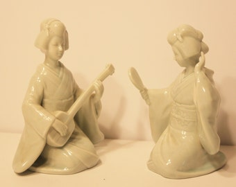 2 Mid Century Ceramic/Celadon Geisha Figures-Rosenthal Netter-Made in Japan