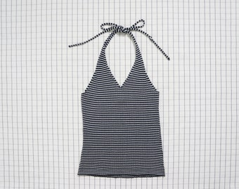 90's Halter top, Black and White Stripe Knit Halter, Minimalist, Soft Grunge, Aesthetic, Tumblr, S