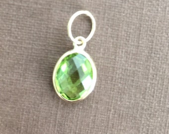 14k solid gold and green peridot  gemstone charm, pendant, August  birthstone