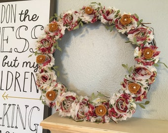 "10"" or 12"" Chiffon Rosette Wreath w/ petite pearls & leaves"