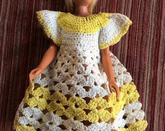Skipper Clothes,,Skipper Dress,Skipper Outfit,Skipper Doll Wardrobe,Skipper Yellow Dress,Skipper Crochet,Barbies Sister,Skipper Handmade