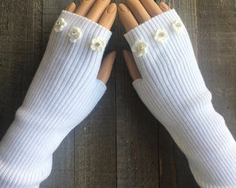 FREE US Shipping! Long Fingerless Gloves Wool Knit Long Arm Warmers Hand Warmers White Flower Mittens Women's Rhinestone Wedding Gloves Wool