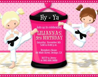 50% OFF SALE, Karate, Taekwondo, Digital Printable Invitation Karate for a Girl's Birthday Party, invitation Martial Arts #10