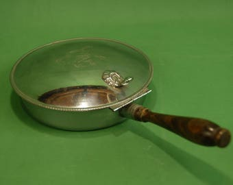 Vtg Nasco PermaBrite Silent Butler Crumb Catcher Chrome Stainless Steel with Crest, Attached Lid and Wooden Handle Made in Italy
