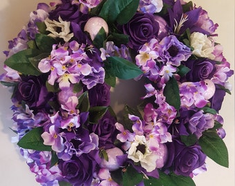 Wreath with Purple Hydrangea