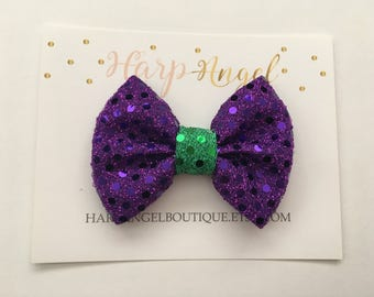 Purple & Green Sequin Glitter Bow Headband Nylon One Size or Hair Clip Newborn / Baby / Toddler Girls / Adult Ariel Little mermaid Headband