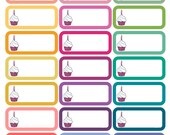 Birthday Cupcake Planner Stickers, for Horizontal & Vertical ECLP, Kikki.K Filofax, Happy Planner etc