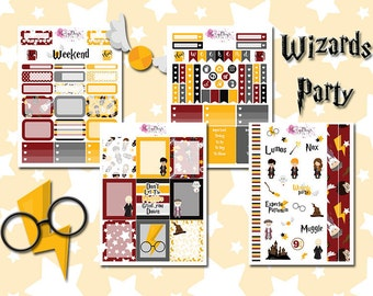 Wizards Party - 4 pages of Wizards Magic & Spells Planner Stickers, for Personal, Pocket, ECLP, Kikki.K Filofax, Happy Planner