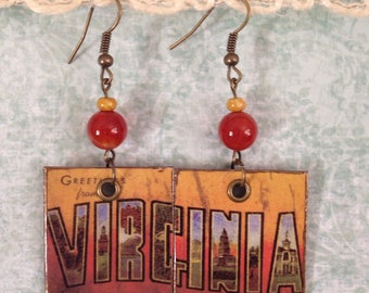 Virginia Up-Cycled Postcard Earrings, Cardboard Cereal Box, decoupage, VA