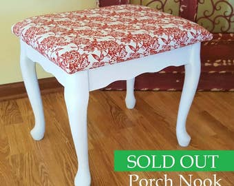 SOLD OUT - Vintage Foot Stool with Red Floral Cushion, Bed Step Stool, Wooden Stool, Bench, Ottoman