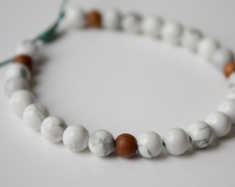 Howlite and Sandalwood Mala Bracelet