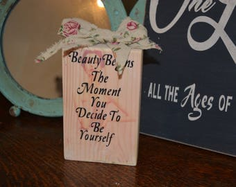 Coco Chanel - Quote Beauty Begins The Moment You Decide To Be Yourself