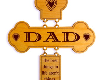 Gift to Dad on His Birthday,Daughter to Dad Custom Gift,Dad Wall Decor, Decorative Cross,I Love You Dad Decorative Cross,Son to Dad Gift