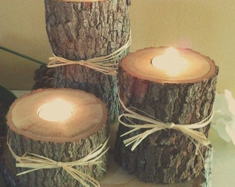 Rustic Wooden Candle Holders and scented tea lights
