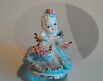 """Vintage Lefton """"Friday's Child"""" Angel Figurine, K8281, Made in Japan"""