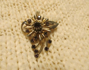 Dark Purple Flower Brooch