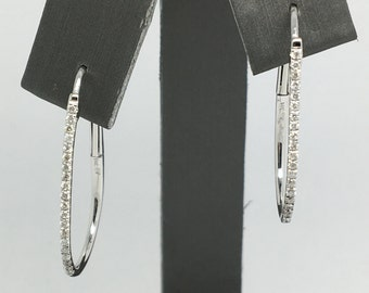 14K White Hold Diamond Oval Shape Hoop Earrings