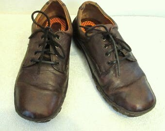 Women's,Brown LEATHER Retro Comfort Casual Shoes By BORN.7/38MW
