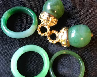 Faux jade rings x 3 and 2x pendants
