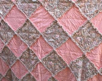 "Quilted Peach-Peach Floral Rag Quilt With Ruffle Trim 72""x72"""