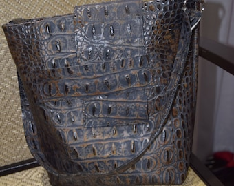 Dark Grey Crocodile Embossed Leather Conceal Carry Purse - Made in the USA
