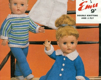 Knit Doll Clothes Vintage pattern for 17 inch Dolls instant download knitting pattern