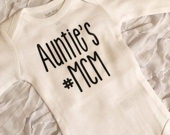 Auntie MCM bodysuit. Moms MCM shirt. Baby Loves Auntie. Baby Shower Gift. Man Crush Monday. Baby Gift