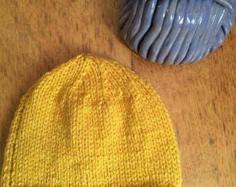 Mustard beanie hat , boys knitted hat, hat with pom pom , mustard beanie