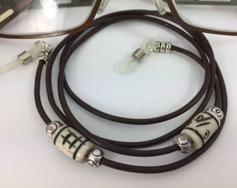 Leather Glasses Chain Brown Leather Tibetan Spectacles Holder/Carrier