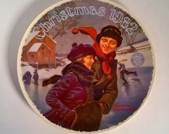 Vintage Norman Rockwell Christmas 1982 Decorative Wall Plate
