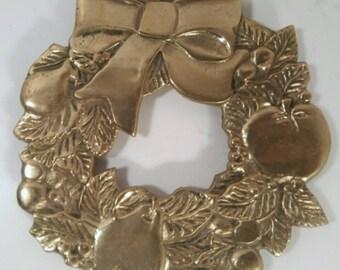 Vintage Brass Fruit Wreath Trivet