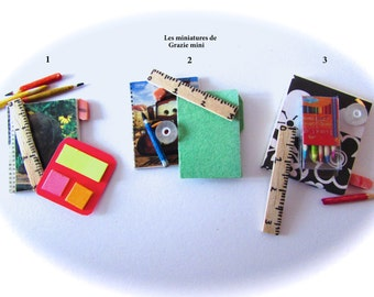 Stationery miniature kits  - scale 1/12 and 1/6 - dollhouse miniatures