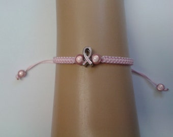 Awareness bracelet - pink ribbon - pink bracelet - breast cancer ribbon - awareness jewellery - ribbon bracelet - cancer bracelet