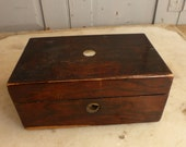 Antique mahogany wooden trinket box with mother of pearl inlay no 2