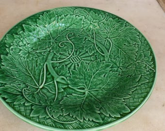 Antique green Majolica Wedgwood fig leaves plate no 2