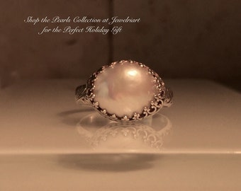 Pearl Ring/Handmade Pearl and Sterling Silver Crown Ring./June's Birthstone/ Free Shipping in the US.