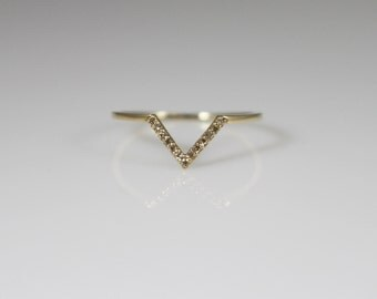 14K solid gold diamond V Ring, 14K chevron ring,cognac diamond ring, 14k geometric ring, 14k gold v ring, 14k delicate ring, wedding band