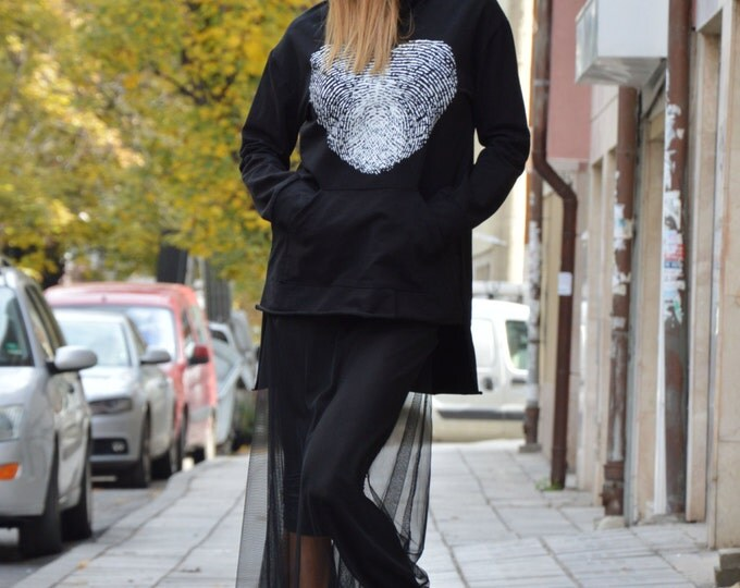 Black Asymmetric Hooded Cotton Sweatshirt Whit Fingerprint, Extravagant Tulle Tunic, Oversize Hoodie By Ssdfashion