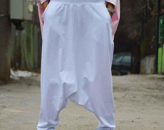 Extravagant Woman Pants, Plus Size Pants, Loose Casual Trousers, White Drop Crotch Harem Pants By SSDfashion