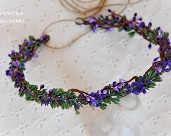 Lavender Flower Crown Flower Halo Boho Bridal Floral Crown Wedding Purple Flower Crown Floral Hair Wreath Girl FlowerCrown Boho LViktoriya12