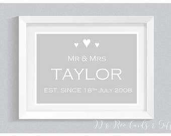 A4 Personalised Gift Print: Mr & Mrs Est. (Wedding/Anniversary Gift)