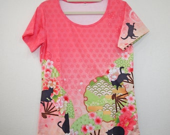 Kawaii Kimono T-shirt, full graphic, vivid color, Cotton polyester