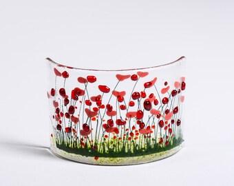 Handmade Fused Glass Poppy Curve Ruby anniversary