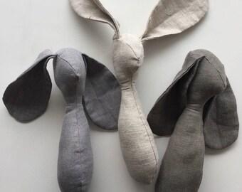 Handmade Linen Bunny. Happy Easter.