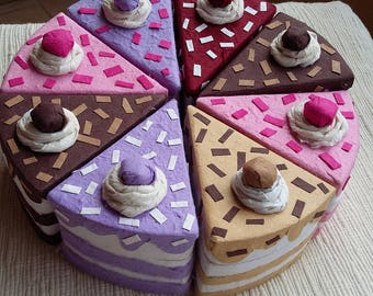 Cake slice favor boxes,papercake boxes,handmade party favors,mulberry paper cake box, piece of cake box,ceremonies boxes, GRATIS SPED ITALIA